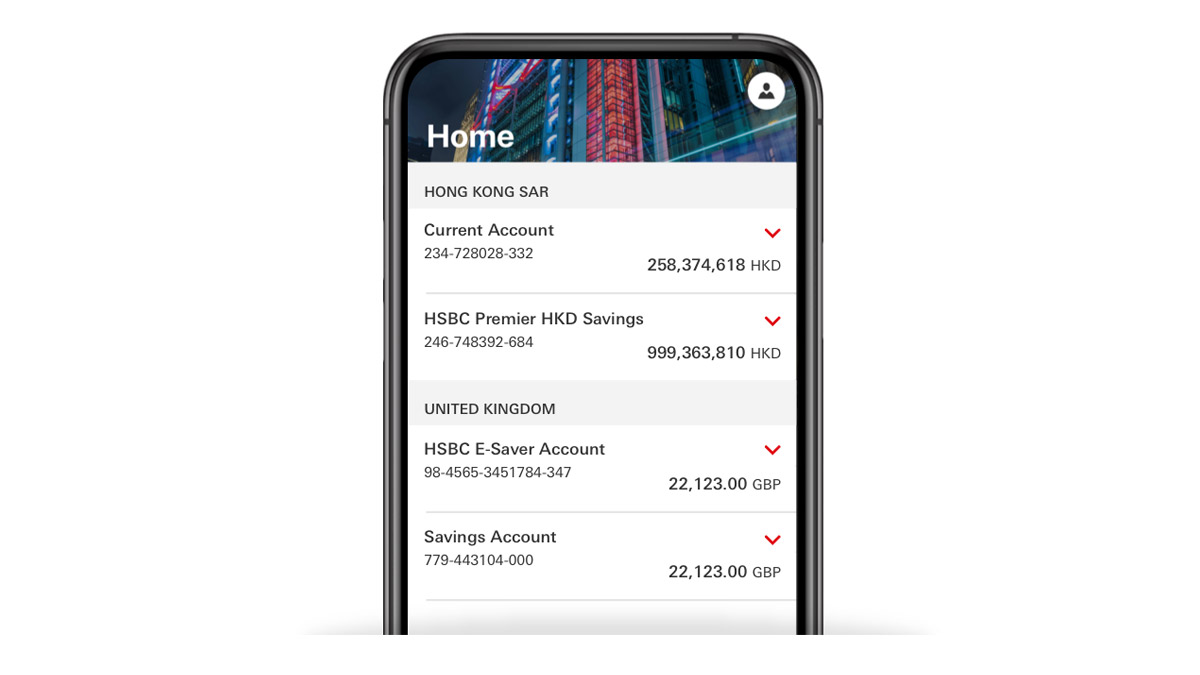 account balance on mobile banking screen; HSBC International Services international banking page