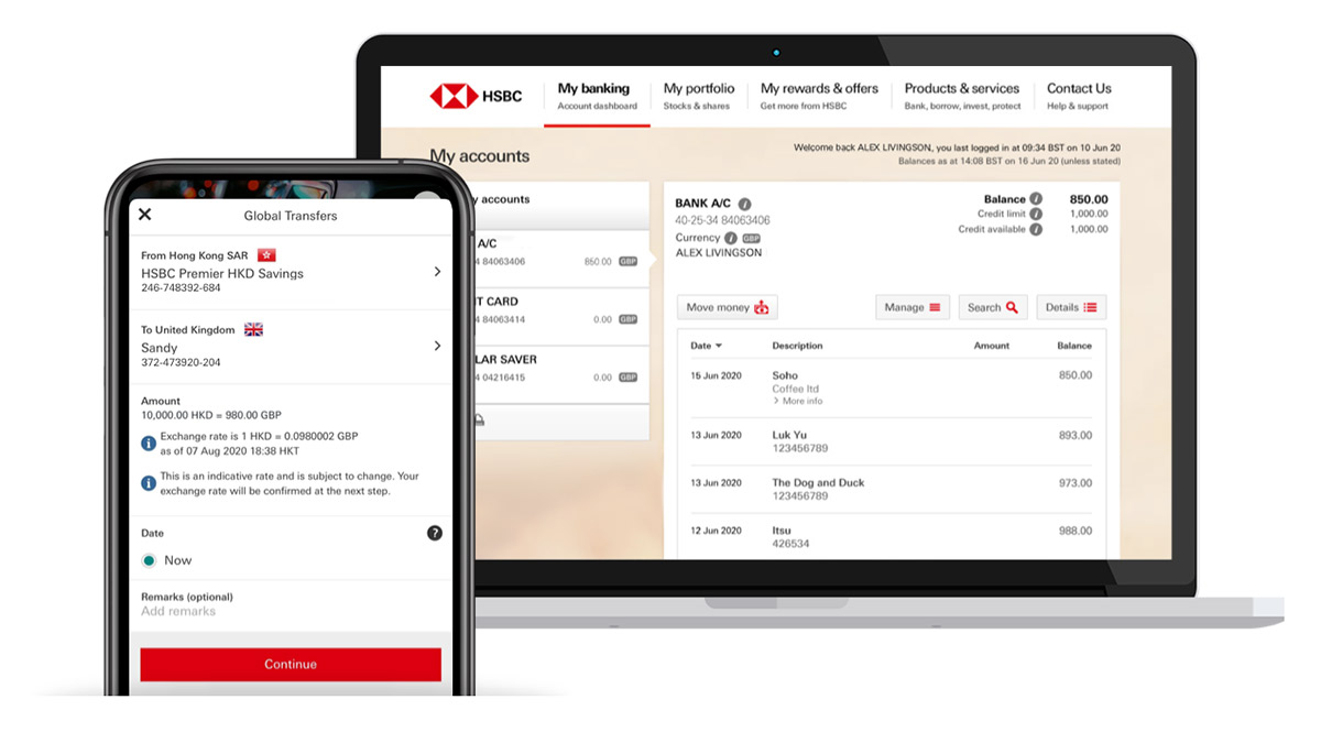 global banking between accounts on mobile banking screen; HSBC International Services international banking page
